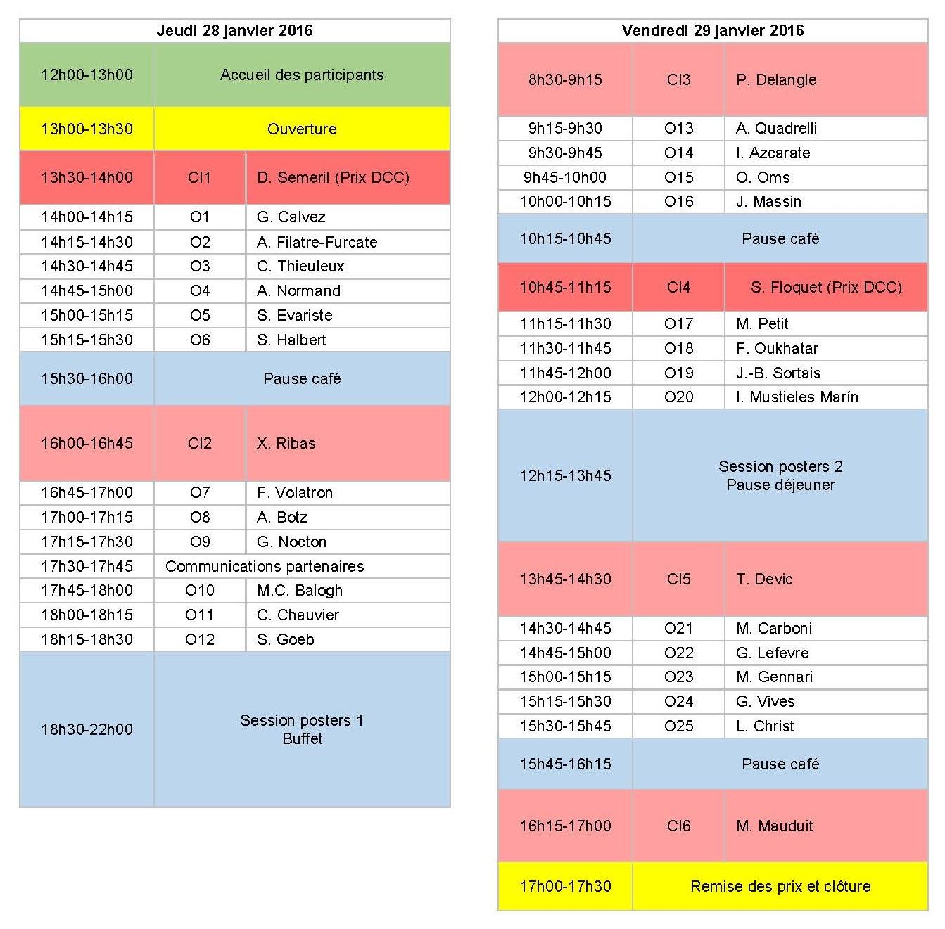 Programme JCC